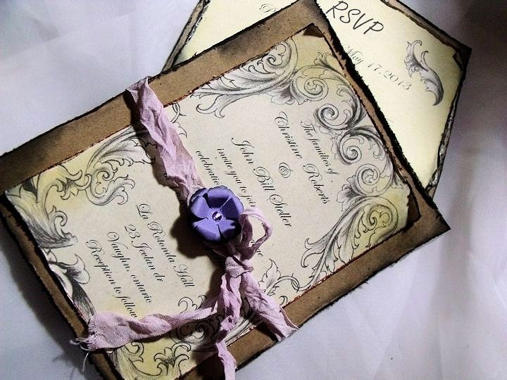 Lavender / purple Wedding Invitation Suite/ Vintage inspired