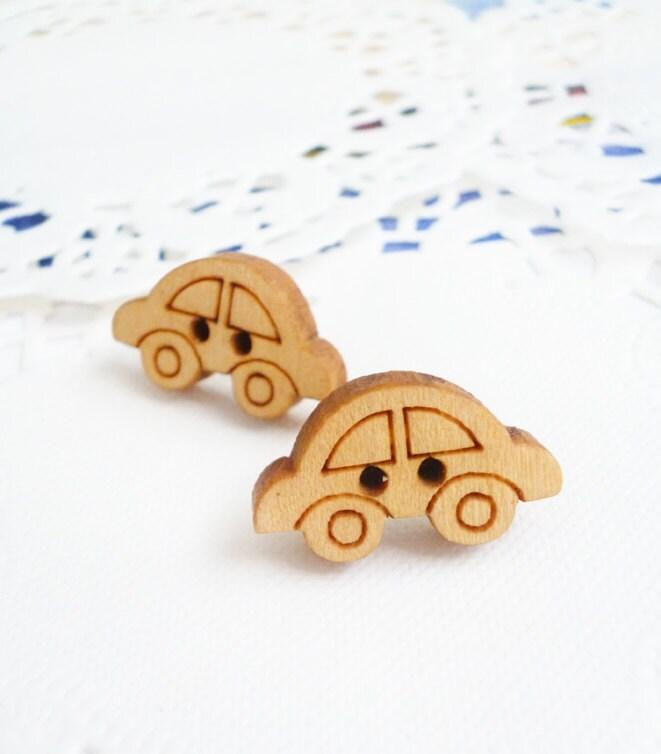 Wood Earrings (Last Pair) - Mini Cars (Zakka)