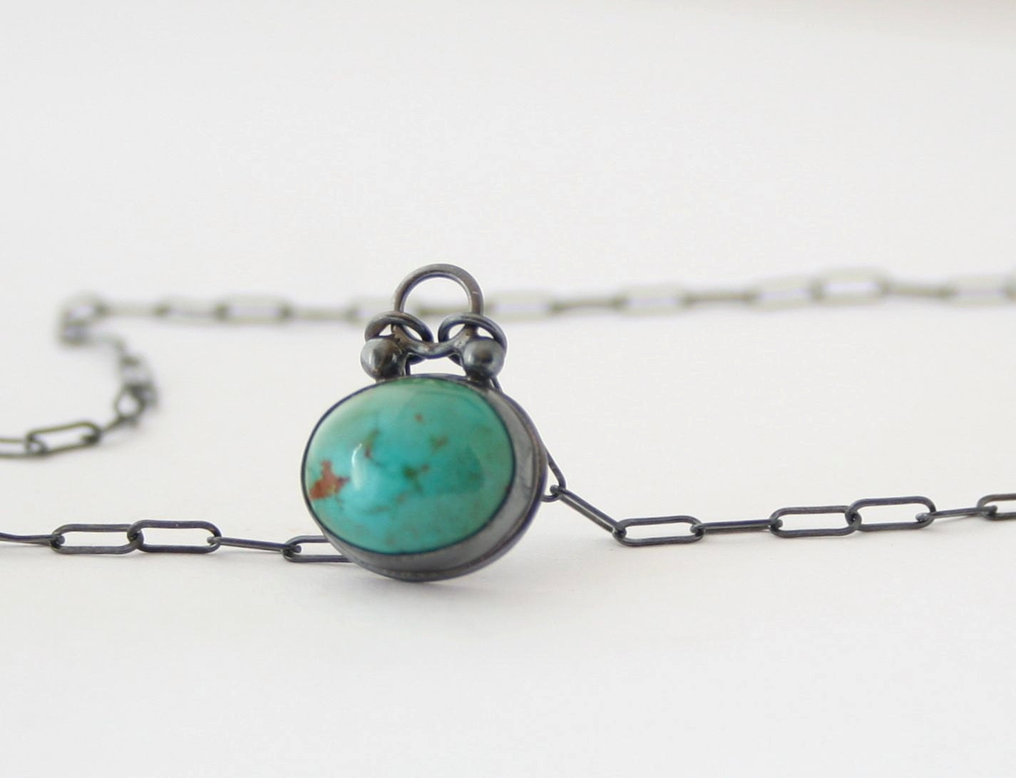 Turquoise Pendant  Necklace - Sterling Silver - Bezel Set - Natural Cabochon - Oxidized -  Blue Green Stone - CocoandChia