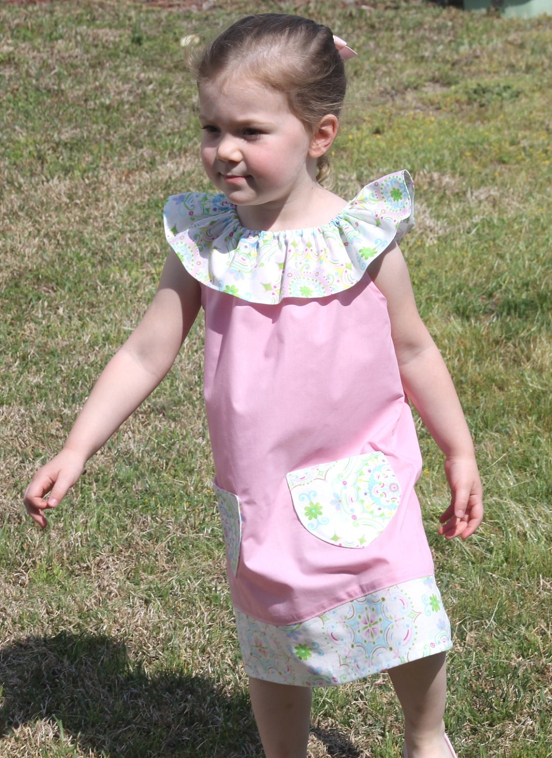 On Sale Now - Charlotte Ruffle Neck Dress- Custom Boutique Clothing - 6m, 12m, 18m. 24m/2T, 3T, 4T, 5T, 6T  - Spring & Easter