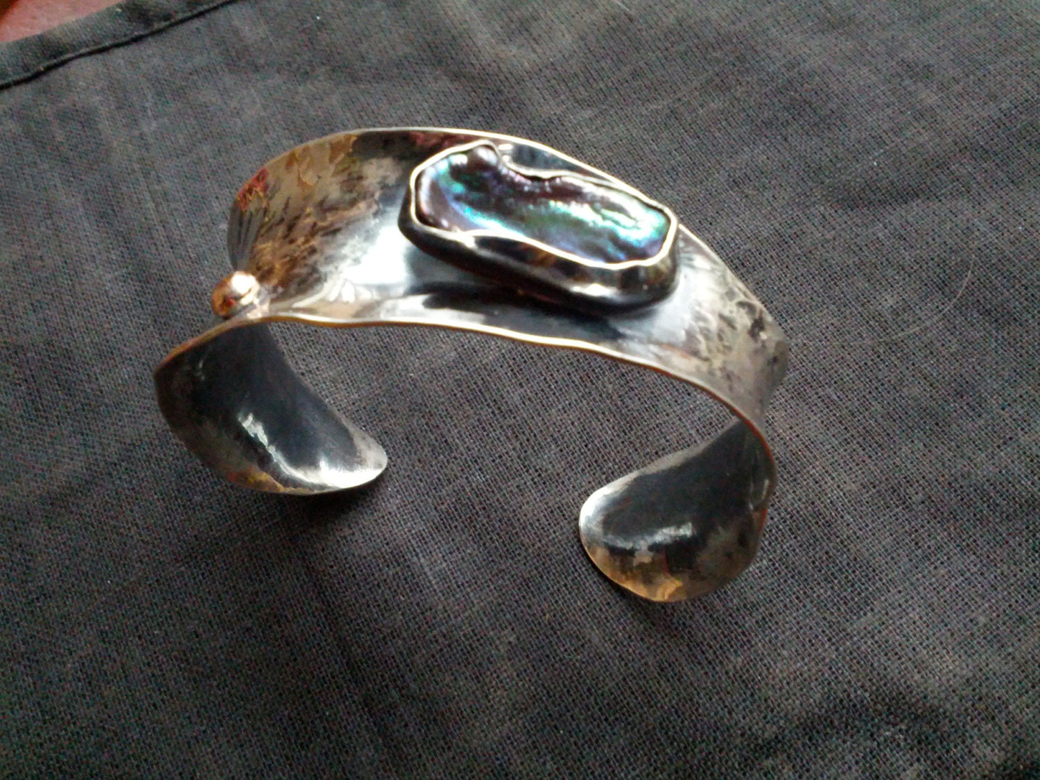 Anticlastic  Sterling Silver Cuff Bracelet with FW Pearl and Rose Gold Embellishement