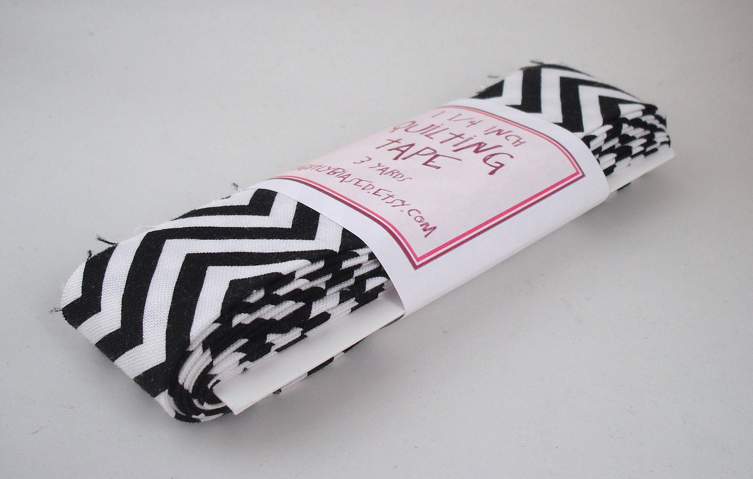 Quilt Binding - Remix Chevron in Black and White Handmade Quilting Tape, 3 Yards