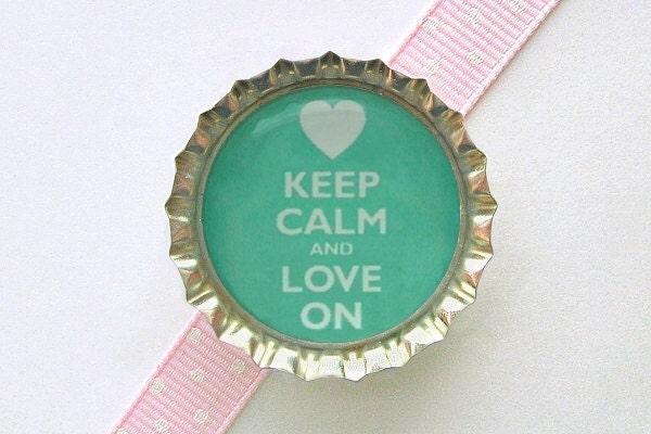 Teal Keep Calm and Love On Bottle Cap Magnet - valentine decorations, valentine's day gifts, fridge magnets, keep calm and carry on decor