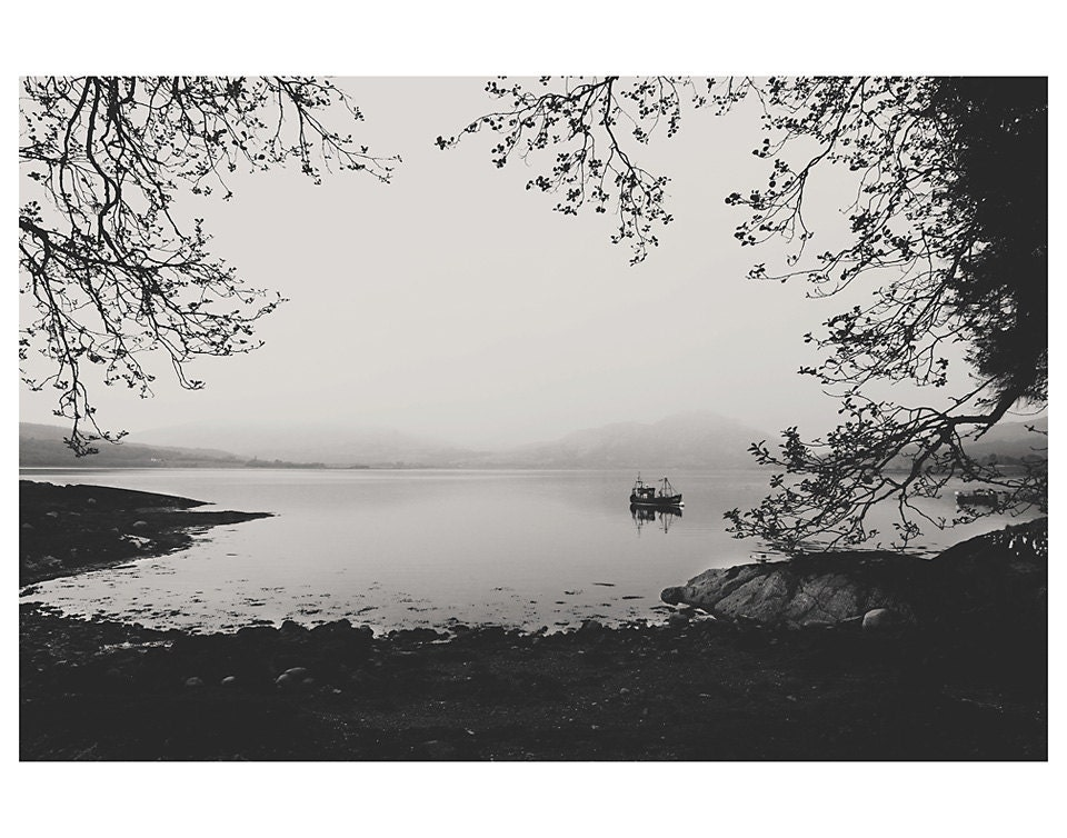 Loch boat water black and white photo print whimsical fine art landscape photography tree shore scotland leave peaceful 14x11