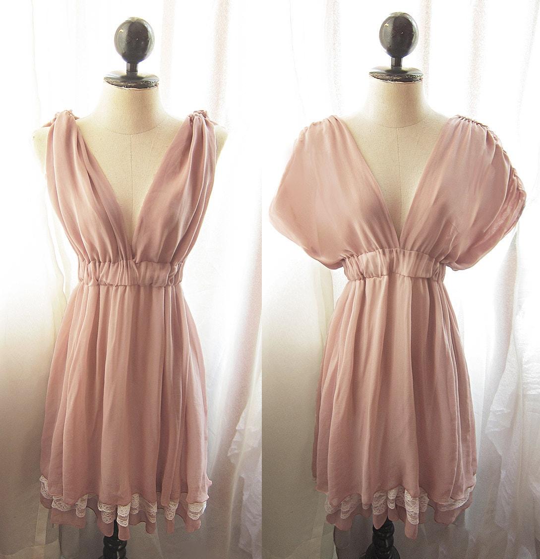 River of Romansk Blush Dusty Pink Rose Kimono Dress Peach Rustic Goddess Marie Antoinette Romantic Bridesmaid Chiffon Lace Hem Grecian Dress