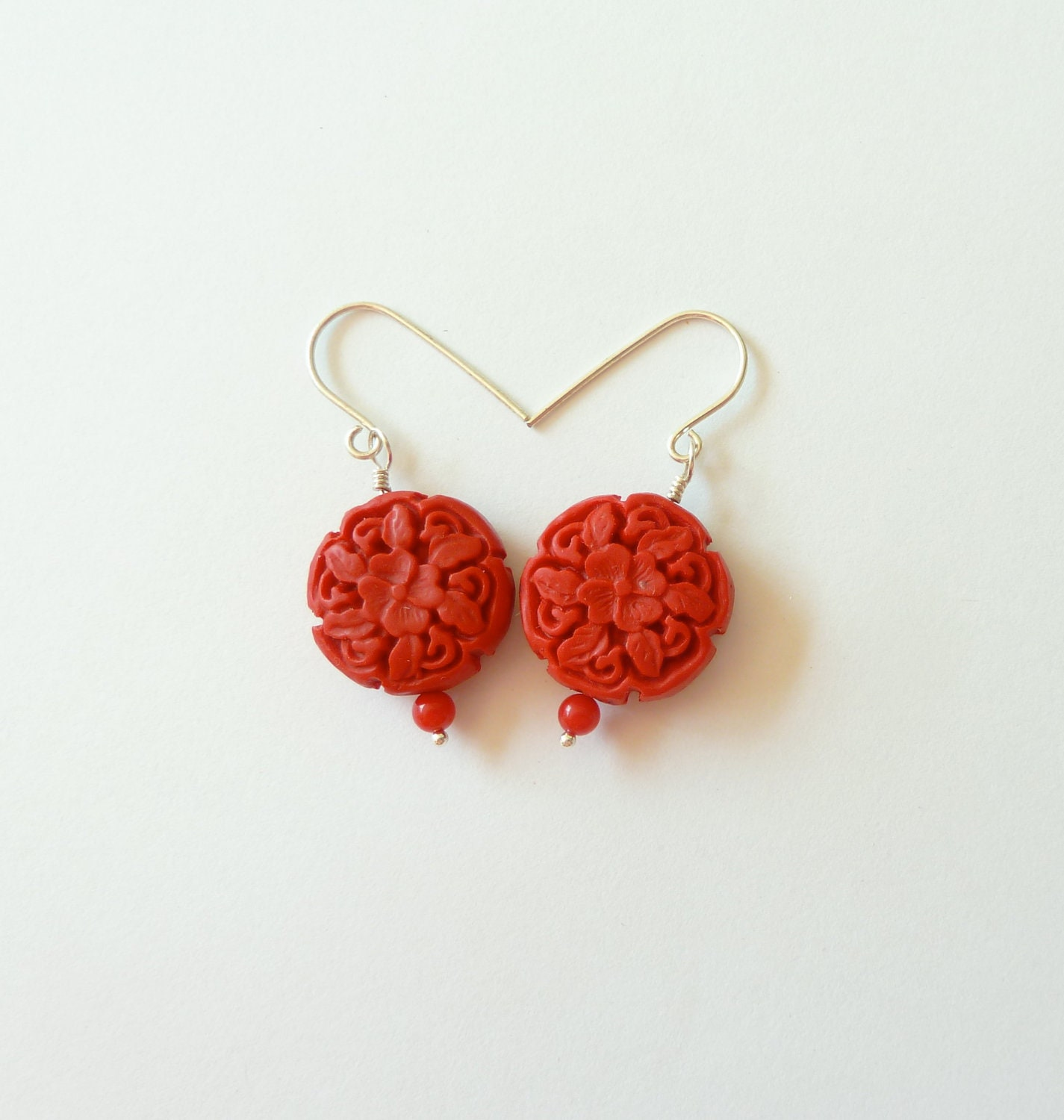 Sterling Silver and Red Cinnabar Earrings - CorkyWhites
