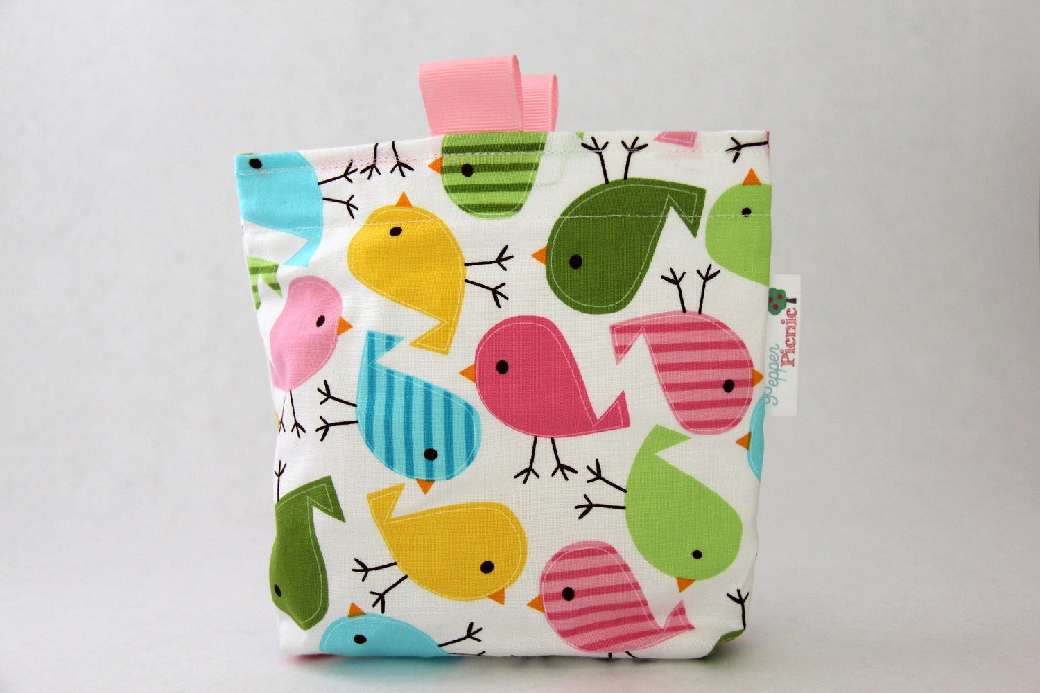 Reusable Snack Bag, Eco Friendly, Gusset and Finger Tabs, Urban Zoologie Birds - Pepperpicnic