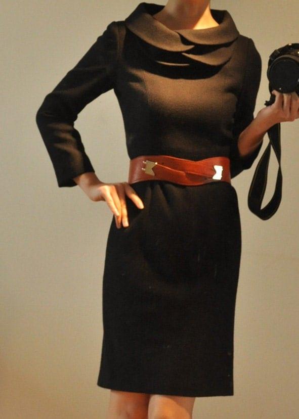 سیاه و سفید پشم خام محکم گلبرگ 9/10 بلند آستین یقه دامن لباس مداد