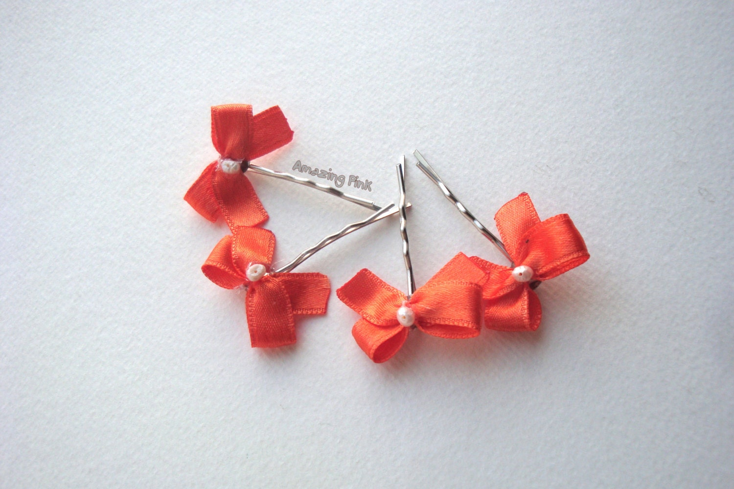 "Bow Hair Pins / Bridal Hair Accessory /Orange Bow With Pearls on 2"" silver bobby pins / Set of 4 - AmazingPink"