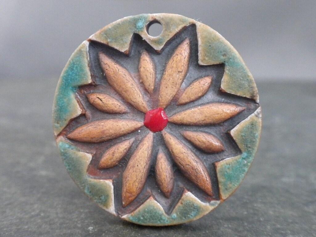 Verdigris Burst- handmade ceramic flower pendant 9891