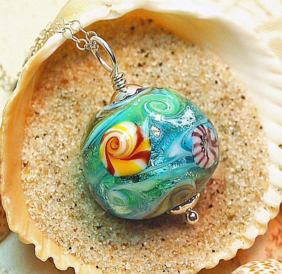 Blue and Green Oceana Lampwork Pendant