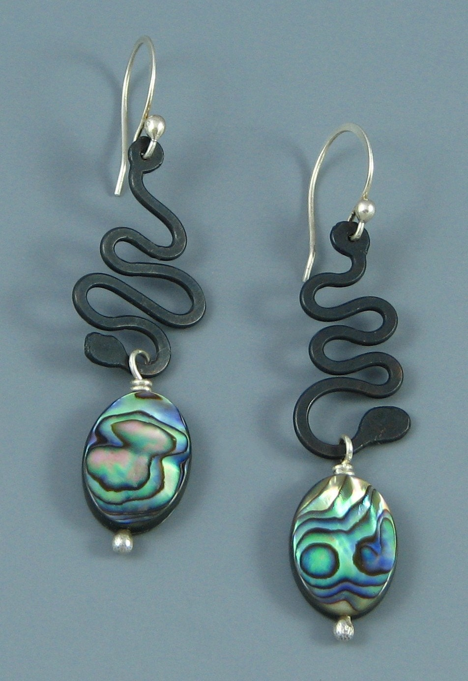 Handmade Abalone and Oxidized Squiggle Earrings