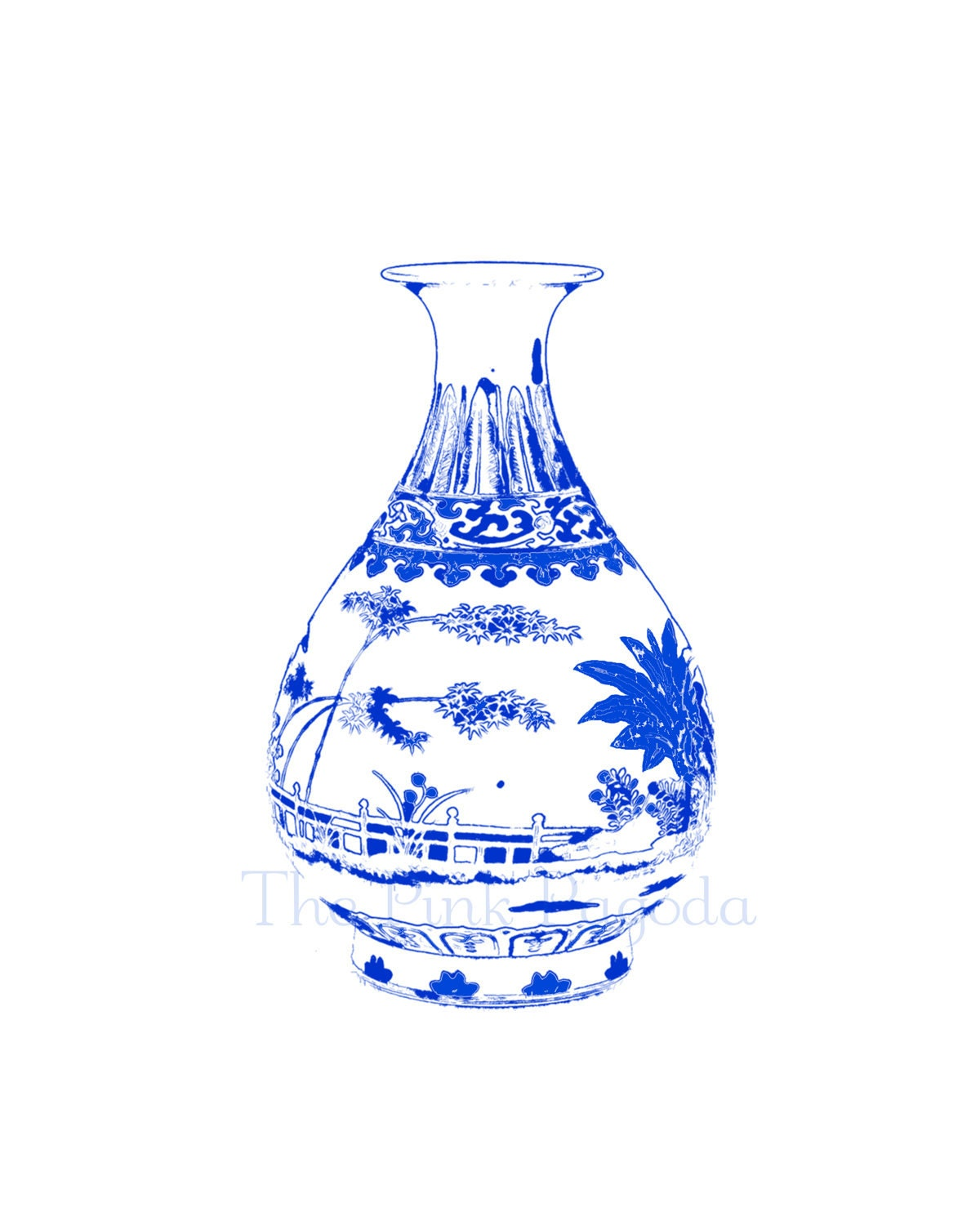 Blue and White Chinese Vase on White 8x10 Giclee - thepinkpagoda