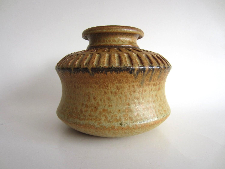 Soholm Stentoj Denmark Josef Simon Scandinavian Vase Geometric Mid Century Modern Rustic Tan Brown - pillowsophi