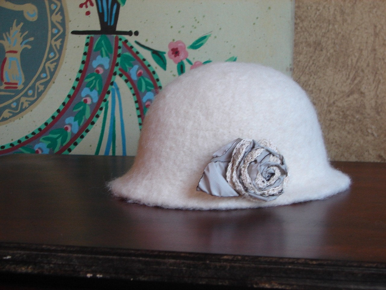 Zelda's Cloche - Felted Wool with Flower Pin, Hat