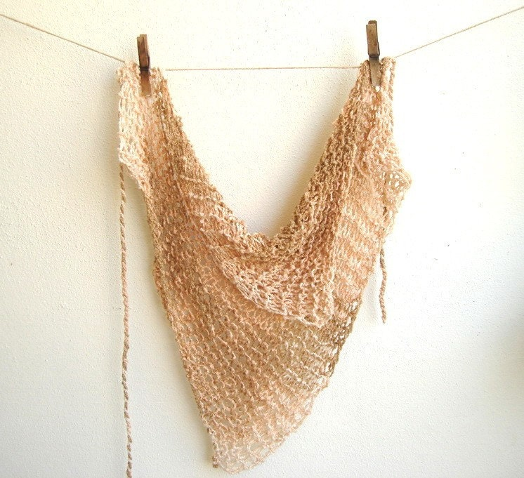 Natural Earth Tones Hand knitted Scarflette hanky  Triangle Scarf Neckwarmer Fashion MADE TO ORDER - boutiqueseragun