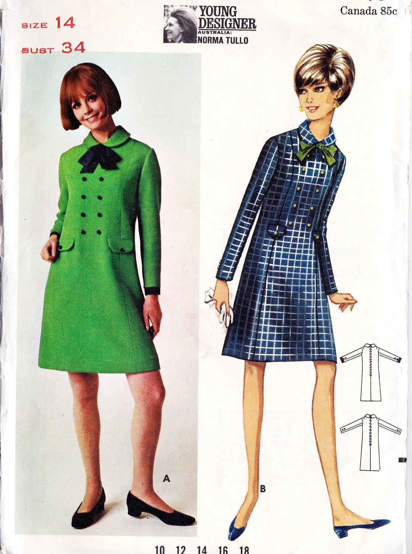 "1960s Misses Dress Vintage Sewing Pattern, Office Fashion, Designer Fashion, Butterick 4518 bust 34"""