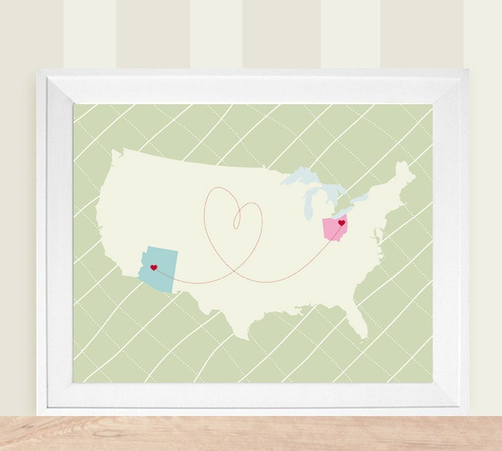 Customized USA States Love Themed Map -  8x10 Silhouette Art Print