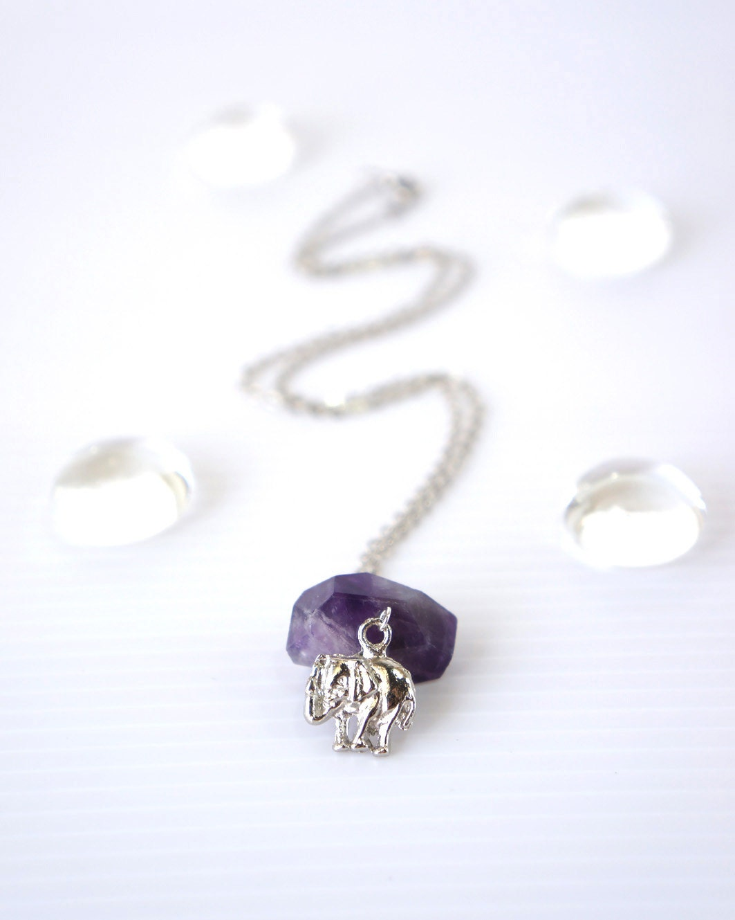 Little Elephant Charm Necklace, Purple Amethyst Faceted Stone, Cute Gift For Little Girl, Girls Jewelry