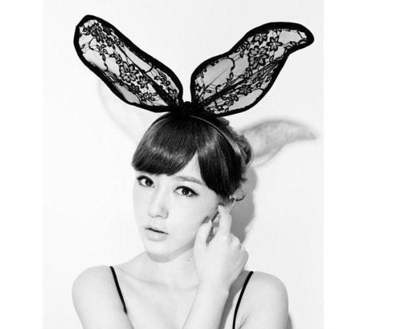 NEW bunny ear BLACK lace hair hoop lace  lolita Cosplay  Costume Party Hallowmas