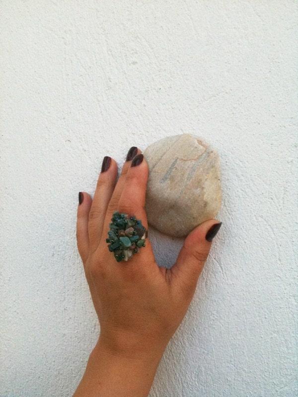 Natural Stone Adjustable Ringwedding ringsturquoise stone rings