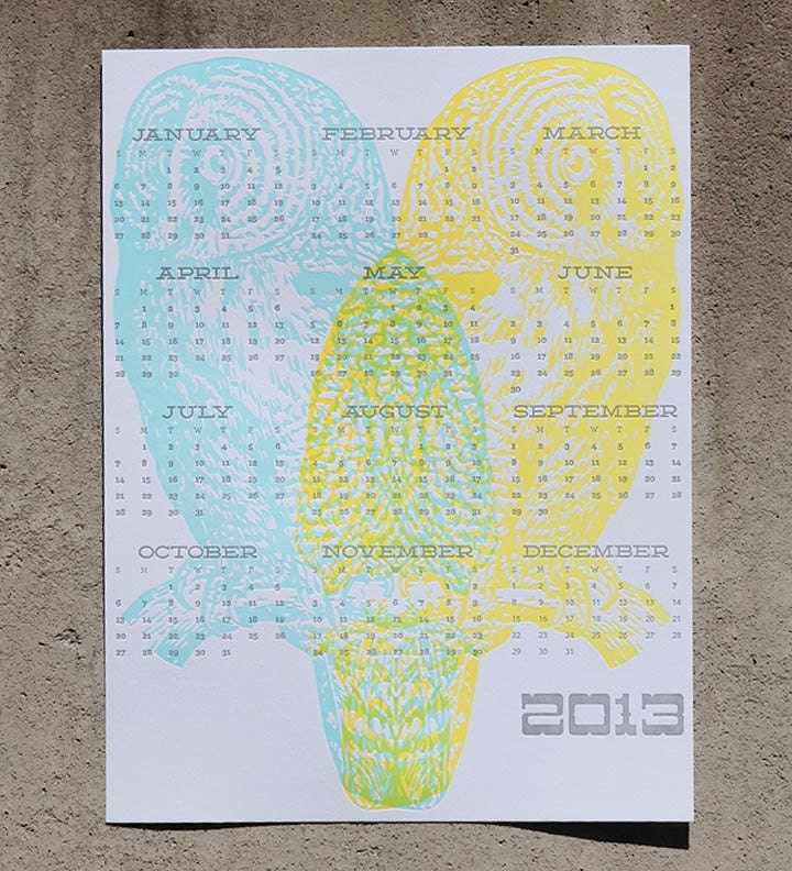 2013 Letterpress Owl Wall Calendar Pale blue & neon yellow