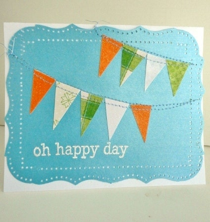 Summer BUNTING FLAG BANNER Sewn Card, Oh Happy Day, Blue Orange White Green, Celebrate Congrats Birthday Greeting, Glitter Stamp Embossed