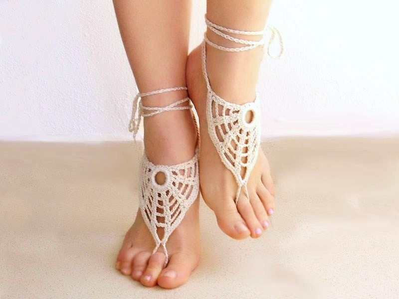 Ivory barefoot sandals, nude shoes, barefoot sandles, foot jewelry, wedding, victorian lace,  yoga, bellydance, stempunk - Lasunka