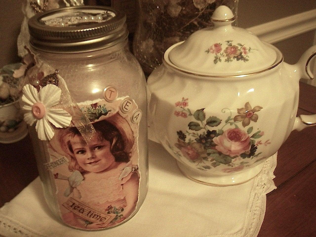 Потертый Chic Декор Дом, потертый шик Jar, Tea Time Jar, чай, Синди Эдкинс, Ее Причудливая Размышления на Etsy