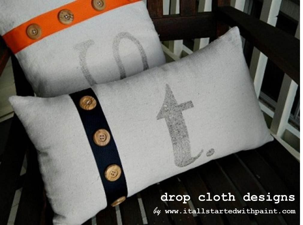 Monogrammed Ribbon & Button Pillow