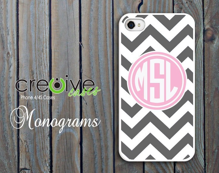 monogram iphone 4 case - iphone 4s case - plastic Pink and Grey Chevron pattern