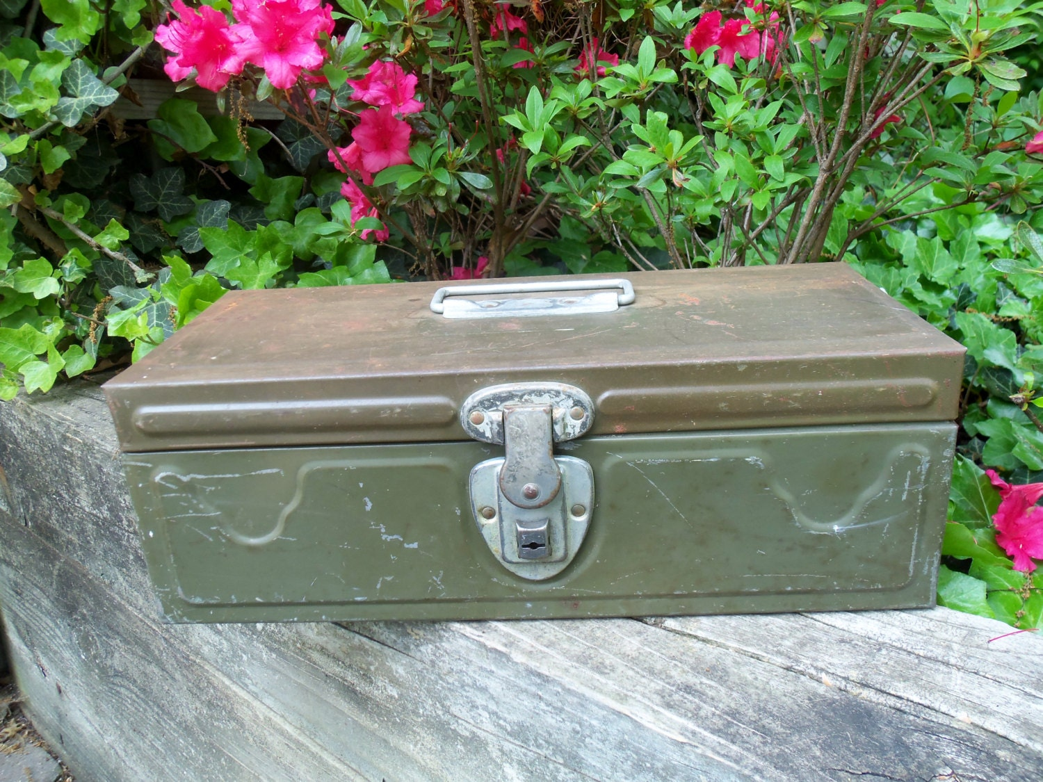 Metal Tackle Box Tool Box with Tray Industrial Mid Century Mad Men Rustic Army Green - TheVintagePorch