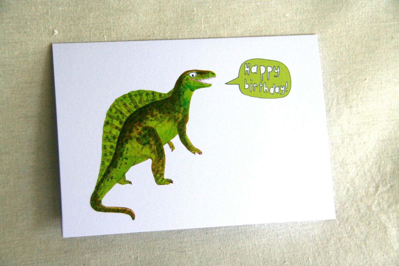 Dinosaur Birthday Card - Kids Birthday Card - Funny Dinosaur Greeting Card - Green Dinosaur