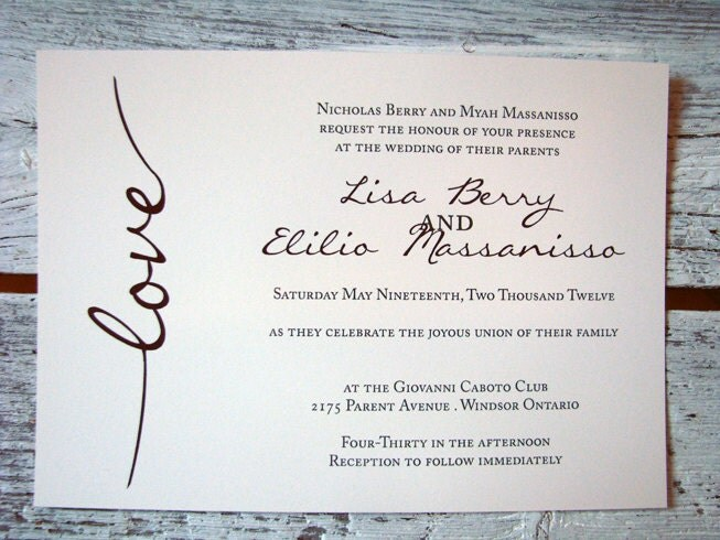 SAMPLE Eggplant Ivory and black Wedding Invitation From MissNicMedia
