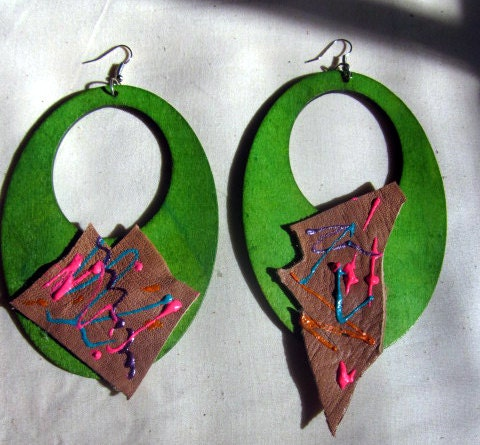 Calypso Earrings-Wood and Repurposed Leather OOAK
