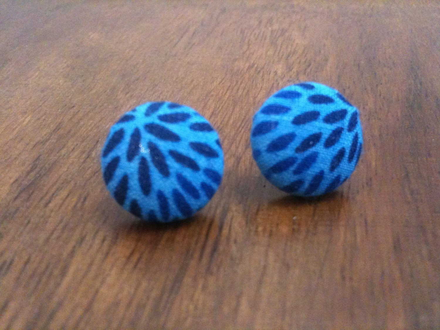 Blue Patterened Fabric Covered Button Earrings