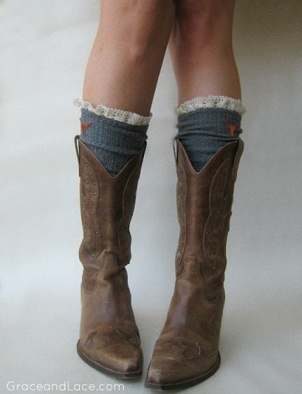PRE-ORDER Lacey Fan Collegiate Boot Socks GREY cable knit boot sock with lace and school logo   (Item no.12-8) - GraceandLaceCo