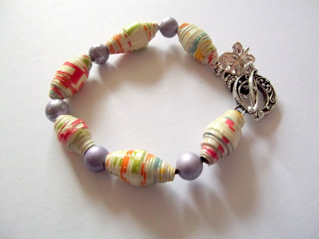 Paper bead Bracelet FREE UK POSTAGE - Rowenberrystitches