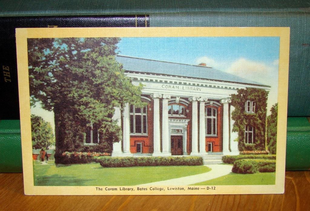 Vintage Postcard, Bates College, Lewiston, Maine 1940s Linen Paper Ephemera