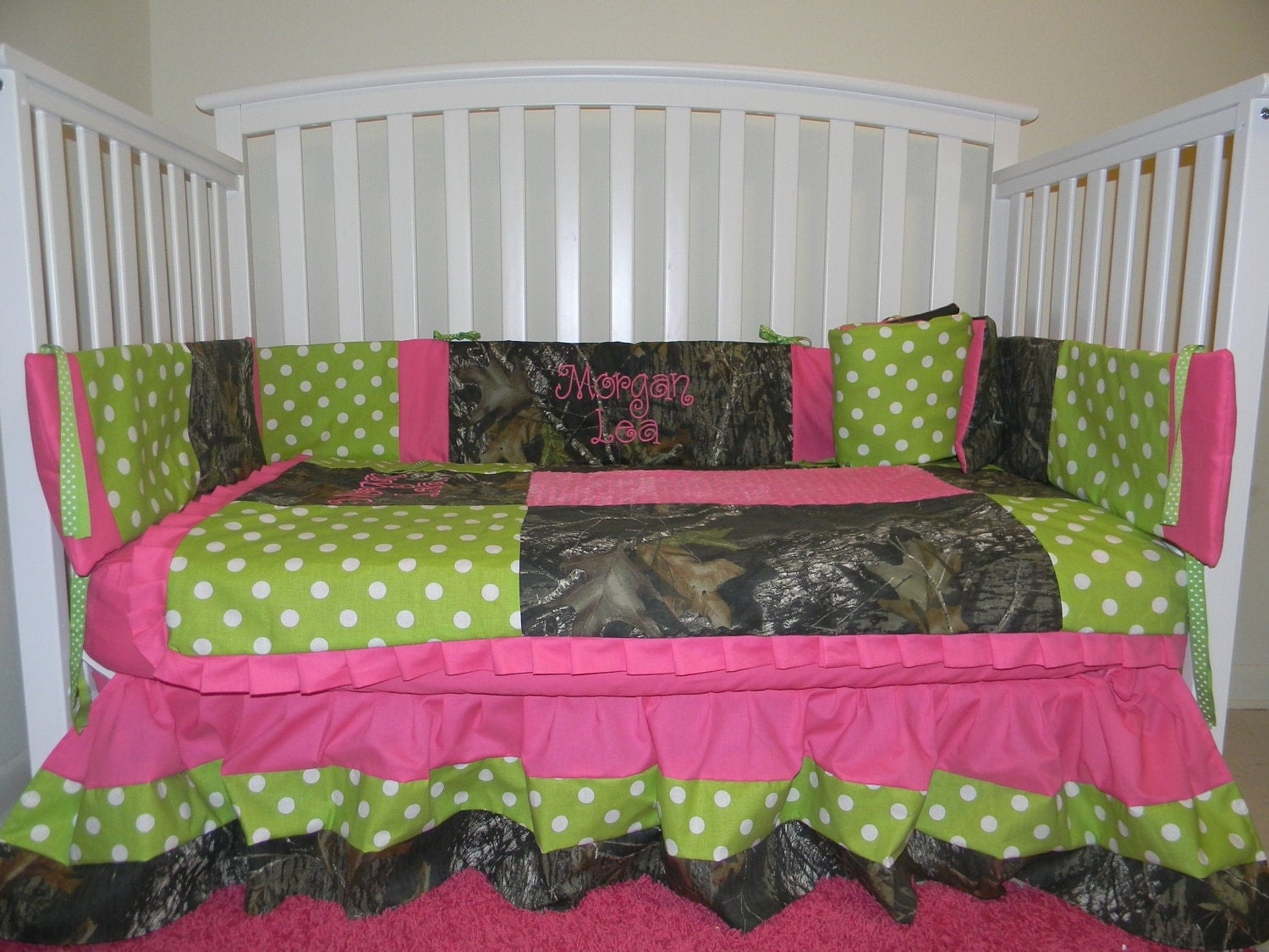 Camo Mossy Oak With Lime Polka Dots And Pink Baby Crib Bedding Set