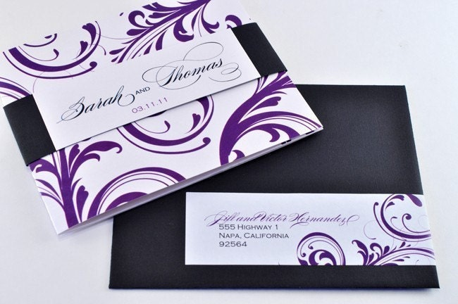 Wedding Invitation in Purple and Black with Perforated RSVP Postcard