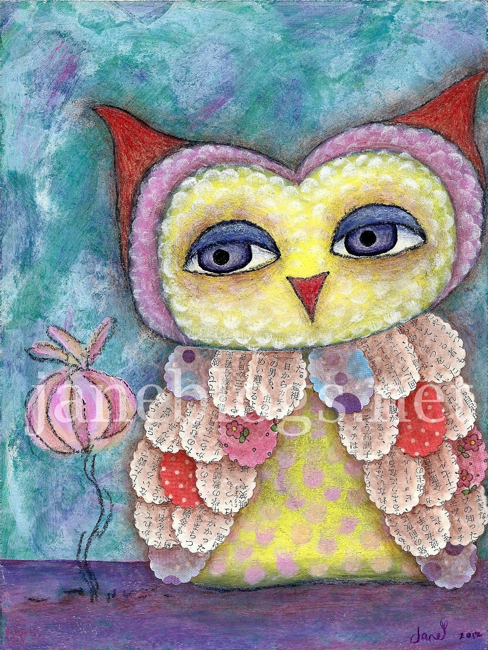 "Original Mixed Media Owl Painting - ""Whoo's a Sweetie"" - 8x6 inch - whimsical big eye art - painting on wood panel, mdf - JaneBlogsArt"