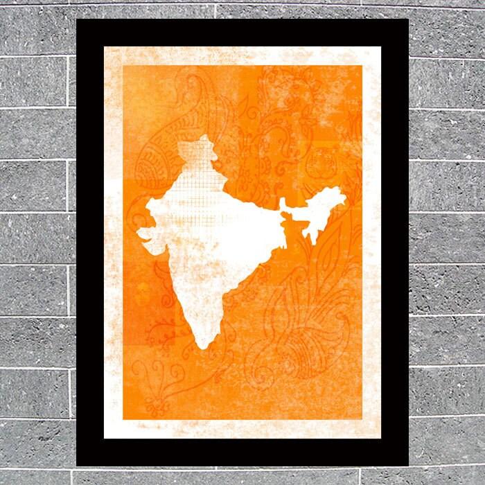 India Map Art Print, A3
