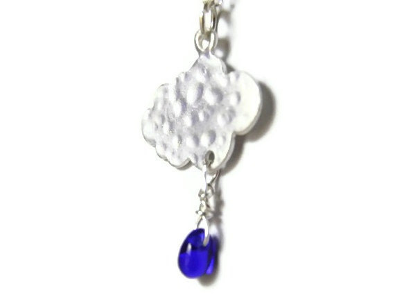 Cloud necklace sterling silver cobalt blue rain drop Spring whimsical - TheRottenRooster