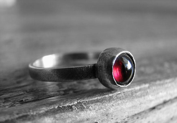 Sterling Silver & Red Pink Rhodolite Garnet Ring-Custom Order