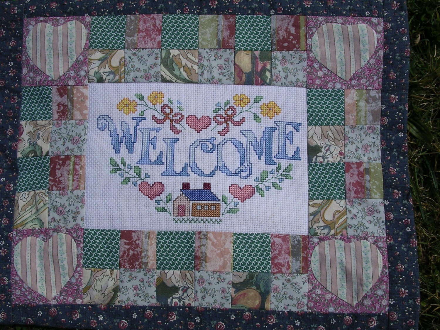 Welcome Wallhanging Crosstitch and Patchwork by HecketyBeckety on Etsy