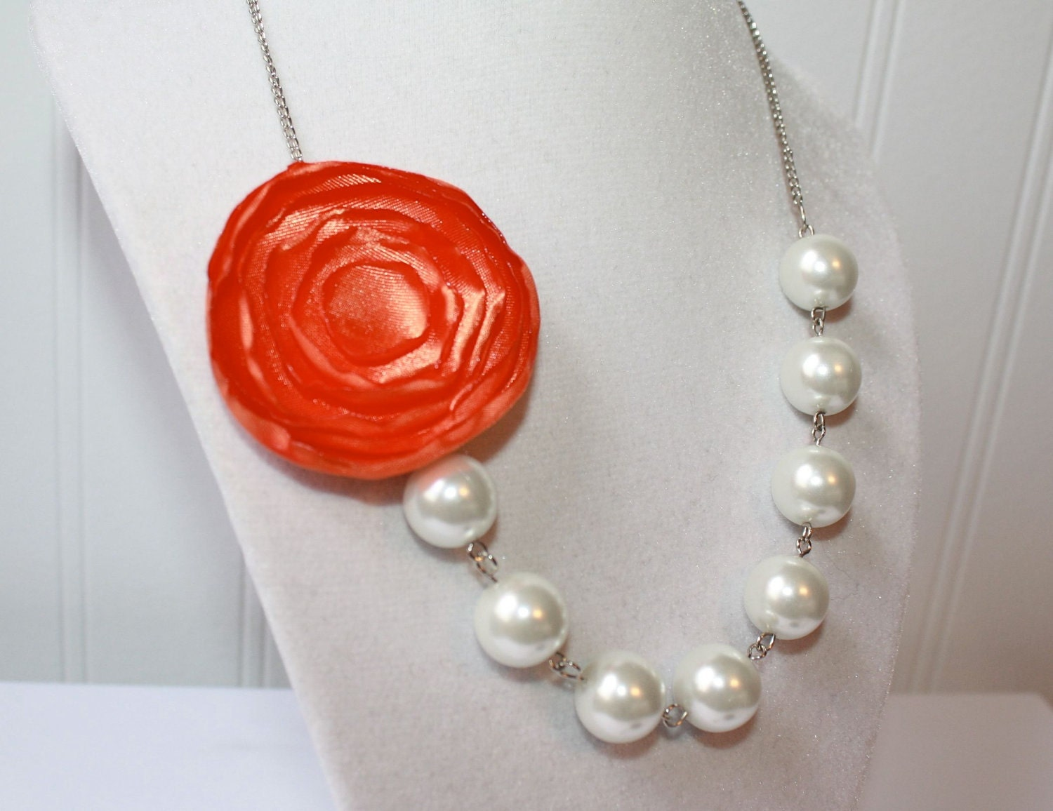 Orange Flower and White Pearls Necklace or Pick Your Color