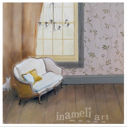 Paris home art print, antique vintage sofa,  French apartment  by inameliart - inameliart