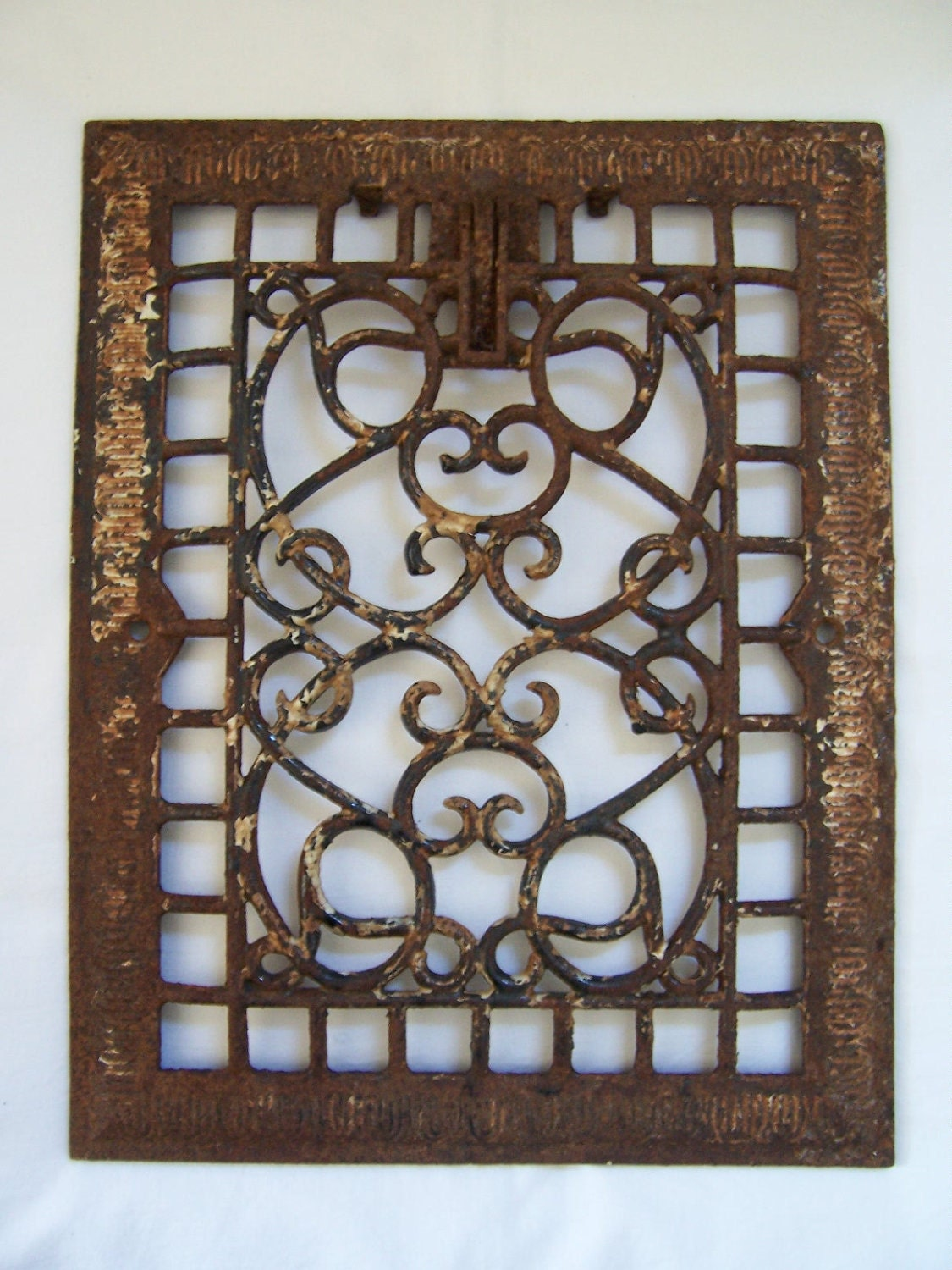Vintage Cast Iron Heat Grate - Architectural Salvage - Scroll Design