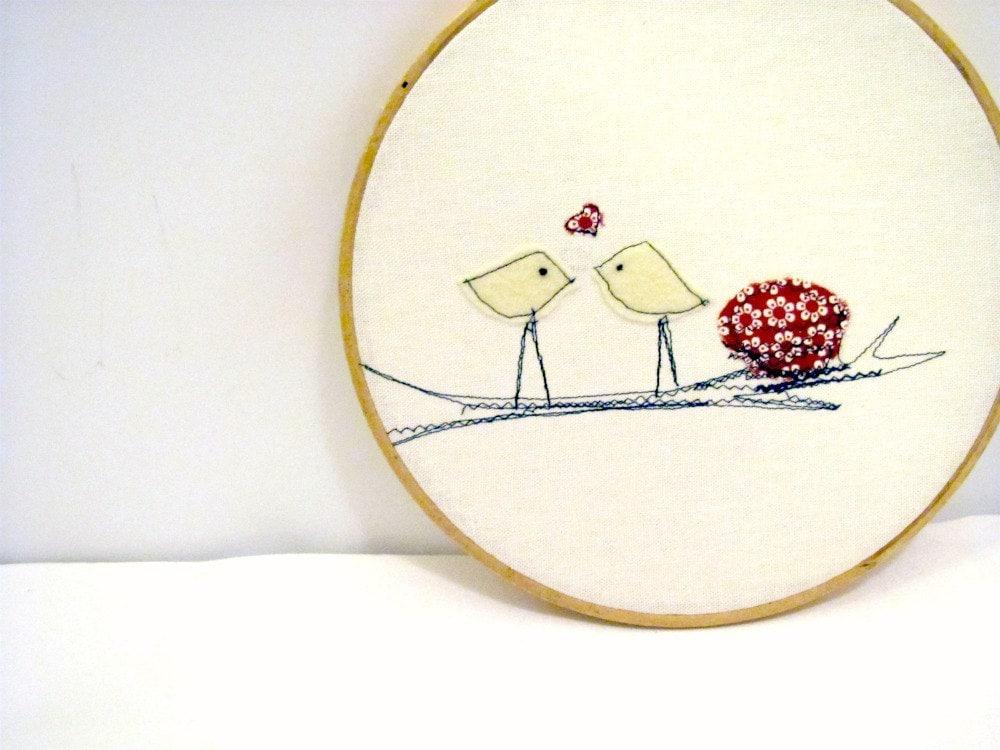 Tweet I Love You Wall Hanging, home decor, Children's Room, Folk Art - hartstringz